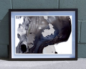 Abstract Watercolor Art Print - Original Design - Fine Art Custom Painting - Midnight Bloom D - 13x19 / 17x22 / 20x30