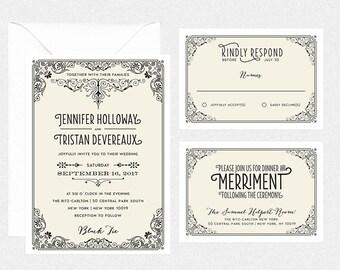 printable DIY wedding invitation suite vintage retro edwardian wedding rsvp card reception card details card- JENNIFER