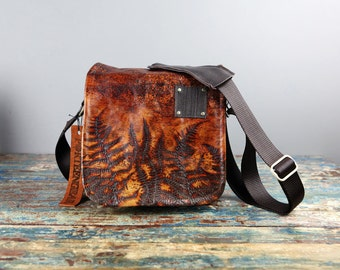 SMALL - EXCLUSIVE Ferns Embossed Leather small sized Canvas and Leather DSLR Camera Bag