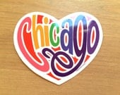 Chicago Bumper Sticker, Pride City Decal, Love Rainbow Heart, Water Bottle Sticker, Chicago Lakeview Boystown, Equality Sticker Glossy