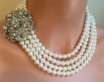 Statement Pearl Necklace with Brooch 4 Multi Strands Swarovski Pearls Rhinestone Broach Bridal Wedding bridal mother of the bride jewelry
