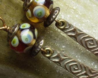 Artisan Earrings #14...Long dangle/ Transparent glass