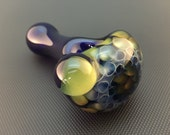 Cobalt Glass Silver and Gold Fumed Honeycomb Tobacco Spoon Pipe