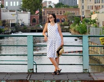 Polka Dot Dress S/M • Drop Waist Dress with Pockets • 80s Dress • White Cotton Dress • Tank Dress • Fall Dress • Midi Dress Preppy | D957