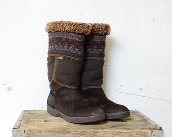 Brown Fur Winter Boots 10 • Cozy Brown Winter Snow Boots • Tecnica Apres After Ski Boho Winter Boots  | SH161