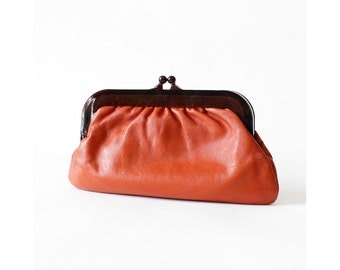 Amber Kisslock Clutch • Leather Clutch • Kisslock Purse • Coral Red Leather Clutch | W215