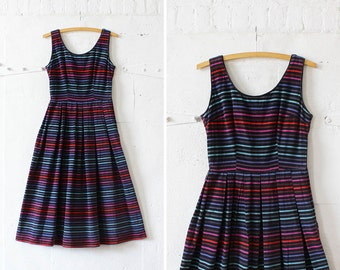 50s Cotton Dress XS/S • Black Striped Dress Small • Cotton Corduroy Dress • Scoop Neck Dress with Box Pleats  | D623
