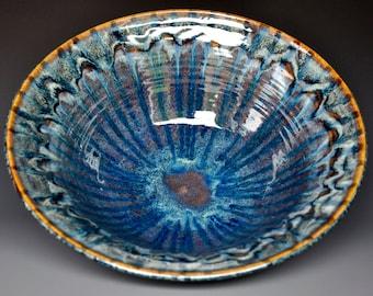 Blue Midnight Pottery Bowl Stoneware Ceramic Salad Bowl Pottery Serving Pasta E