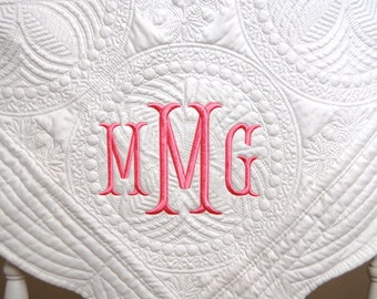 Monogram Baby Quilt, Personalized Baby Blanket, Personalized Quilt, New Baby Gift, Christening Gift, Baptism Gift, Baby Blanket