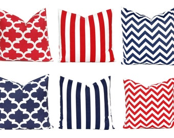 Blue and red pillow Etsy