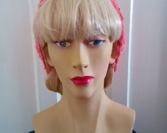 1940s Style Hand Knitted Hair Tidy in Salmon Pink