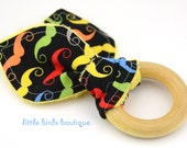 All Natural Wood Baby Teething Ring- Rainbow Mustache on Black - Great Gender Neutral, Shower Gift