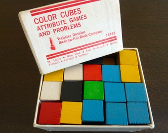 Vintage Color Cubes Attribute Games and Problems (1967) Teaching Math Science
