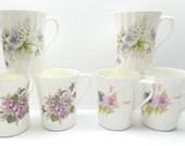 Vintage Royal Stuart Coffee Mugs , Fine Bone China Floral Mugs