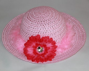 Tea Party Hat - Pink Easter Bonnet with Pink Boa - Girls Sun Hat - Easter Hat -  Birthday Hat - Sunday Dress Hat - Derby Hat  1688