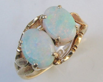 Vintage Double Natural White Opal Cabochon and 14k Solid Yellow Gold Ring, Size 6.25