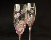 Pink Wedding Glasses, Champagne Flutes, Wine Glasses,  Dragonfly Glasses, Hand Painted Set of 2