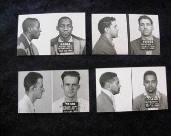 4 Bad Dudes Cleveland Ohio Police Department Criminal MUG SHOTS  Collection 1950's Vintage Original Fifties