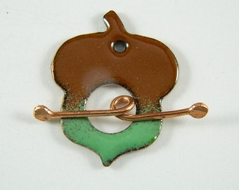 Enameled Acorn Toggle Clasp with Copper Toggle Bar