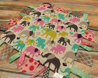 Ribbon Sensory Baby Girl Blanket Lovey - Elephants  READY TO SHIP