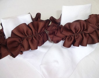 Chocolate Brown Ruffled Ribbon Socks