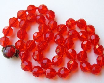 Vintage 50s Orange Glass Faceted Bead West German Crystal Necklace