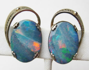 Vintage 50s Sorrento Sterling Silver Filigree Blue Opal Screwback Earrings