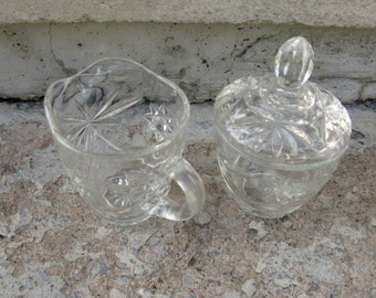 anchor hocking early american prescut star of david sugar and creamer set mid century pressed glass