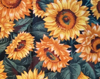 Sunflowers Cotton Fabric 2 Yards Novelty Print  X0590 Yellow On Green Leaves