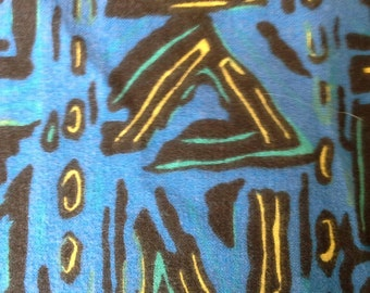 Novelty Print Tribal Pattern on Blue Cotton Flannel Fabric 1 Yard X0417
