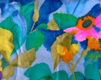 Multi Color Floral Print Cotton Fabric 3 Yards X0431 Blue, Pink, Yellow, Green