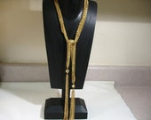 Vintage Gold Tone Multi-Strand Chain Lariat Necklace