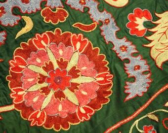 Uzbek hand embroidered silk on silk Ottoman Suzani. Green silk suzani. Bed cover suzani. Table, sofa cover suzani. Wall hanging suzani