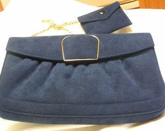 Vintage blue suede purse and mirror case with gold  trim and long gold chain by Snow White Shoe Company