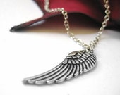 VALENTINES DAY SALE - Silver Angel Wing Necklace Pendant Large Feather Wing Charm Jewelry