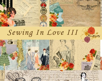 Sewing in Love III (Digital paper)