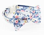 Les Fleurs Rosa Flora Periwinkle Dog Bowtie Collar - Rifle Paper Co.