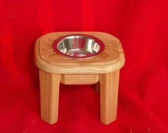 Elevated Dog Feeder Solid Oak 6 Inch High Half Pint  FREE STAINING