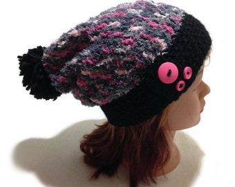 Sparkly Pom Pom Hat, Button Tab Beanie, Pom Pom Beanie, Fuzzy Winter Hat, Sparkle Ombre Hat, Celestial Hat, Galaxy Hat, Pink Winter Hat