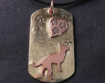 Custom Dog Tag with breed of your choice, stamped on brass and copper