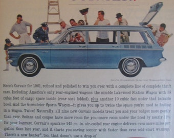 1961 Chevy Corvair 60s Chevrolet Full Page Color Ad