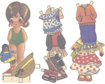 10 STICKERS Paper dolI with outfits - Vintage paper cut-outs for collage or altered art