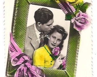 1940s LOVERS Handwritten postcard - Vintage SPANISH antique romantic print from Spain