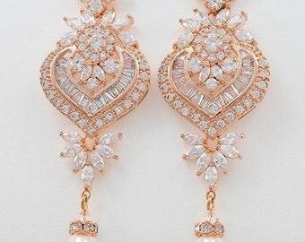 Bridal Chandelier Earrings, Cubic Zirconia Crystals, Swarovski Drop Pearls, Vintage Style, Rose Gold, Silver, Gold Tone, Sammy Earrings
