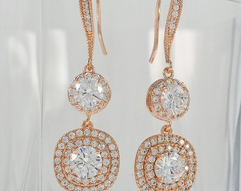 Rose Gold Tone Earrings with Clear Cubic Zirconia Crystals, Ear Wires, Round and Square, Katherine Earrings - Will Ship in 1-3 Business Days