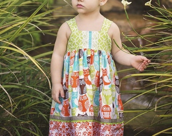 Girls Reverse Knot Dress It's a Hoot Collection Owls Lime, Coral, Aqua, Brown by Boutique Elli'Ette