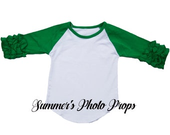 IN STOCK ready to ship Girl's Raglan Ruffle Shirt Baseball Blank Green Ready to Ship HTV Screen print Child Size