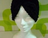 Boho Style Crochet Wool  Black Turbans,Crochet Knitting Black Headband,Black Wool Heapiece.