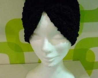 Boho Style Hook  Wool  Black Turbans,Crochet Knitting Black Headband,Black Wool Heapiece.