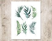 Palm Leaves Watercolor Printable INSTANT DOWNLOAD, hand painted clipart, greeting card, diy clip art, Fabric Image Transfer